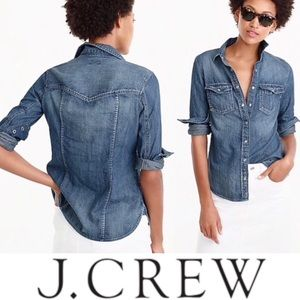 J. Crew Pearl Snap Western Chambray Denim Shirt